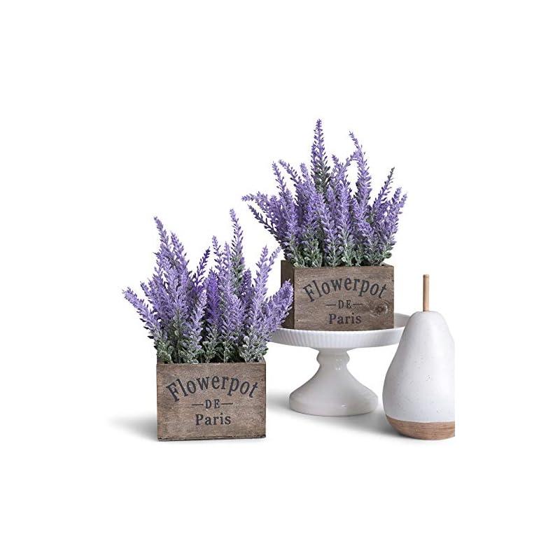 silk flower arrangements butterfly craze artificial lavender plants in box pots (set of two) - rustic home decor and beautiful lifelike faux silk flower arrangements for kitchen, office, weddings & beyond - brown boxes