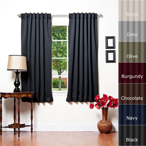 Best Home Fashion Thermal Insulated Blackout Curtains – Back Tab/ Rod Pocket – Black – 52″W x 63″L – (1 Panel)
