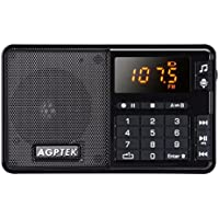 AGPTEK FM Pocket Radio, Portable Radio with Line-in Voice Radio Recorder and Mp3 Player, Built-in Speaker and Better Reception, Supports Up to 32GB SD Card (Black)