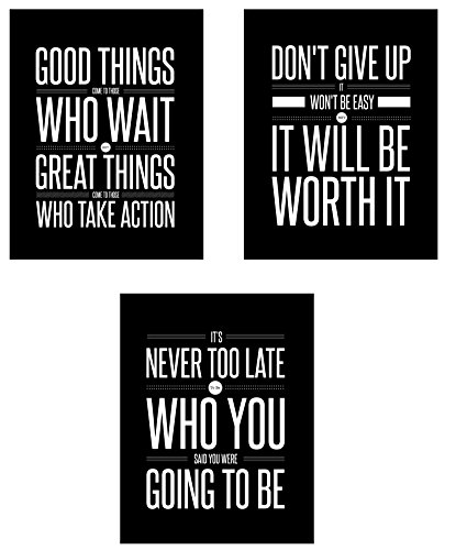 Don't Give Up 3 Poster Set Motivational Inspirational Quote Wall Art Posters Black &