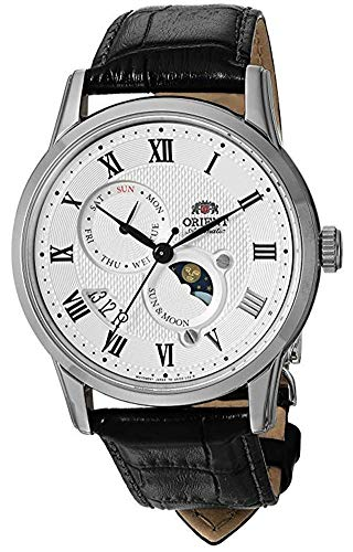 Orient Men's 'Sun and Moon Version 3' Japanese Automatic Stainless Steel and Leather Casual Watch, Color:hite (Model: FAK00002S0) (The Sun Goes Up The Stars Go Down)
