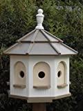 Large Poly Octagon Handcrafted Handmade Homemade Birdhouse Garden Clay & White