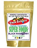 Virgin Extracts (TM) Premium Raw Freeze Dried Organic Black Raspberry Powder Extract Concentrate 8oz Pouch (5 X Stronger) Black Raspberry Powder Raspberries Superfood