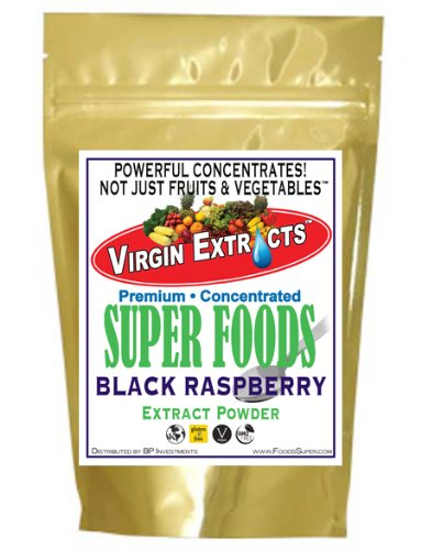 Virgin Extracts (TM) Pure Premium Raw Freeze Dried Organic Black Raspberry Powder Extract Concentrate 8oz Pouch (5 X Stronger) Black Raspberry Powder Raspberries Superfood by Virgin Extracts