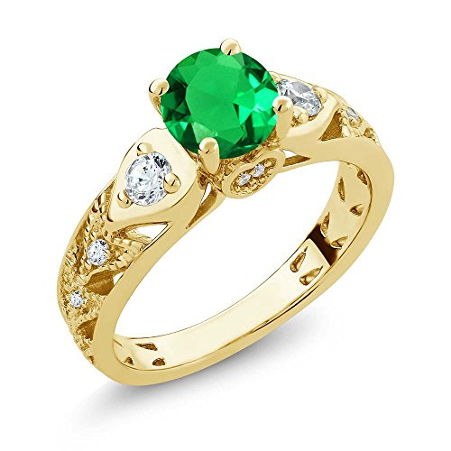 Gem Stone King 2.03 Ct Round Green Simulated Emerald 18K Yellow Gold Plated Silver Engagement Ring (Size 7) ()