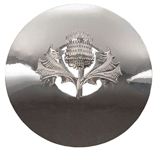 Thistle Plaid Brooch for Scottish Traditional Dress Pewter Chrome Finish