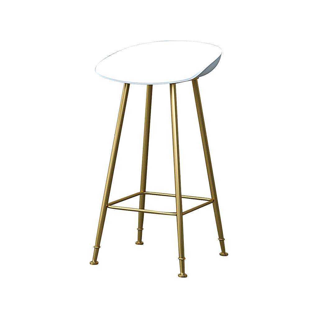 White 65cm Bar Stools Bar Chairs Breakfast Dining Stools for Kitchen Island Counter Bar Stools Loading 120 KG PP Material Sitting Surface gold Metal Legs