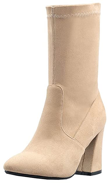 92ee8702d2ca Mofri Women s Chic Chunky High Heel Pointed Toe Skinny Pull on Faux Suede  Mid Calf Boots