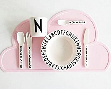 Nikgic Cloud Silicone Placemat Baby Infant Plate Baby Child Dish Mat Portable Tableware
