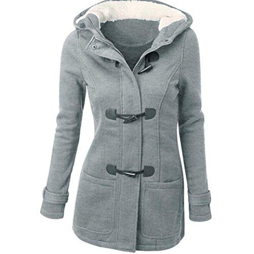 Chaqueta Invierno con Sudadera Lana Capucha Jacket de Parka Mujer Pullover Abrigo Gris Casual Capa xZUqYnan