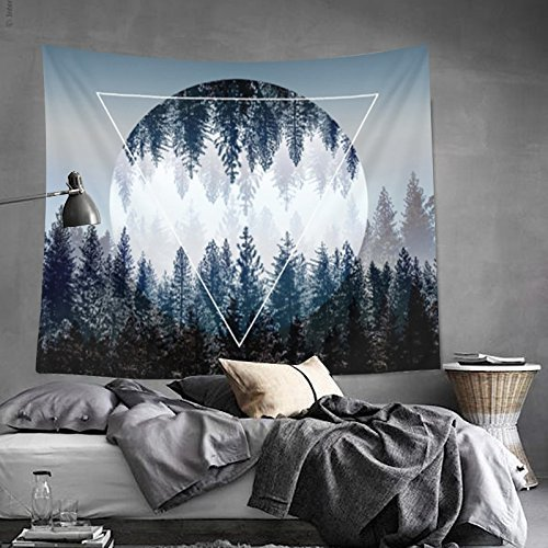 Tapestry Wall Tapestry Wall Hanging Tapestries Sunset Forest Tapestry Ocean and Mountains Wall Hanging Tapestry with Romantic Pictures Art Nature Home Decorations Dorm Decor Tapestries 59 x 51 Inches by BLEUM CADE (Image #3)