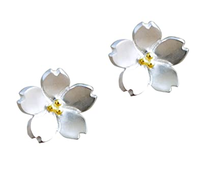 22d32b92c Amazon.com: S925 Sterling Silver Flower Stud Earrings Cherry Blossom  Earrings Handcrafted Jewelry (Color1): Jewelry