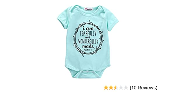 111129b4ca8 Amazon.com  Ka Milka I Am Fearfully and Wonderfully Made Infant Baby Girl  Romper Bodysuit  Clothing