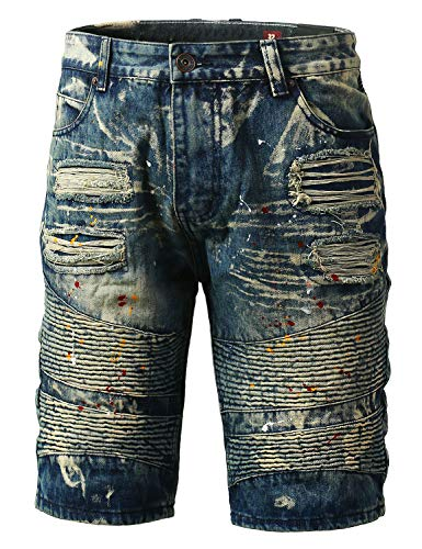Hipster Zip Fly Jeans - URBANCREWS Mens Hipster Hip Hop Ripped Paint Denim Biker Shorts Indigo, 30