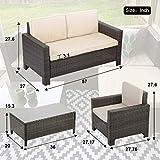 4 Pieces Outdoor Patio PE Rattan Wicker Sofa