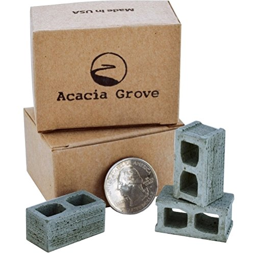 24 REAL MINI CINDER BLOCKS - gift ideas for men | birthday gifts for boyfriend | gifts for him, dad | scale diorama supplies, model railroad, dollhouse miniature accessories, fairy garden (Concrete Mini)