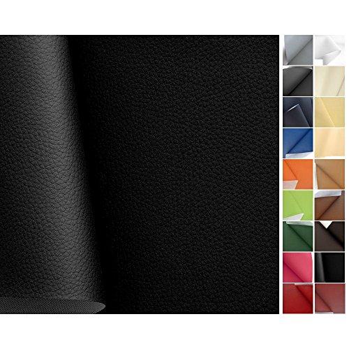 TOLKO® Kunstleder Meterware Schwarz Polsterstoff - langlebiger PREMIUM Bezugsstoff, Möbelstoff