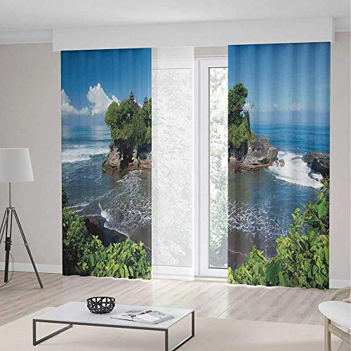 Balinese Decor Blackout Curtains,Tanah Lot Temple in Bali Island Wavy Ocean Historic Architecture Heritage Picture,Window Drapes 2 Panel Set, Living Room Bedroom,197 W 84 L,Green Blue