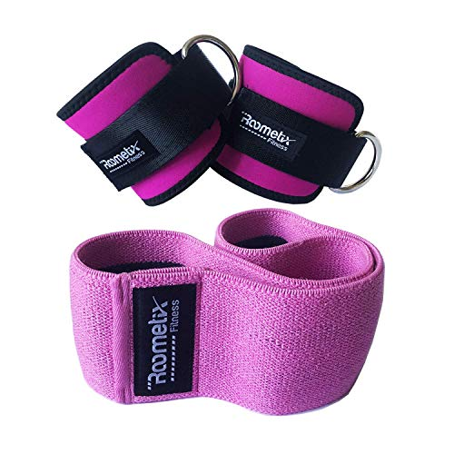 (Roometix Ankle Straps for Cable Machines with Hip Circle Resistance Band - Ankle Cuffs for Legs, Abs and Glute Exercises - Glute Workout Activation Band for Women - Non-Slip Design (Pink, M))