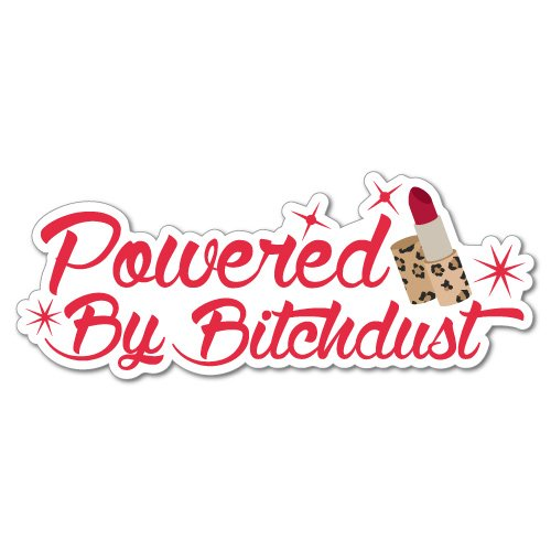 Powered by bitchdust Funny Bitch車ラップトップステッカーデカールステッカーペットアートノートパソコン B072548MQ1