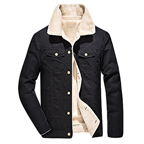 Coats Fleece Jackets Outdoor MU2M Winter Pockets Lightweight Black Lined Men's qS8Y0
