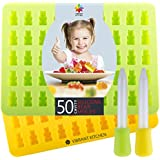 Gummy Bear Molds by Vibrant Kitchen BPA Free Silicone Mold For Gummie Chocolate Ice Cubes and Candy 2 Molds and 2 Droppers (Free eBook)