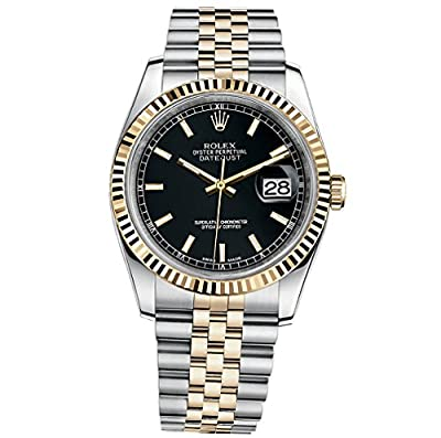 Rolex Datejust 36 Steel Yellow Gold Watch Black Dial 116233