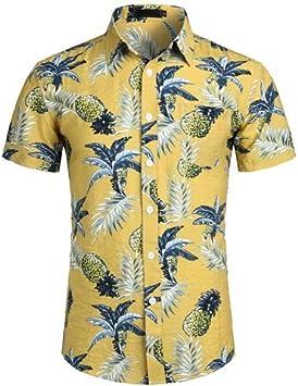 LFNANYI Piña Impreso Camisa Hawaiana Blanca Verano Camisa de Manga Corta Ocasional Hombres Playa Hawaii Camisas Hombre Ropa de Talla Extra XXL: Amazon.es: Deportes y aire libre