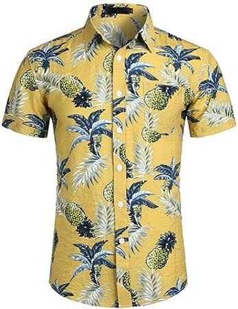 LFNANYI Piña Impresa Camisa Hawaiana Blanca Verano Camisa de ...