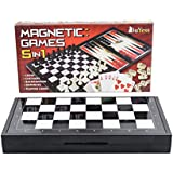 5 in 1 Magnetic Travel Chess Set + Checkers, Dominoes, Backgammon, Playing Cards for Kids and Adults