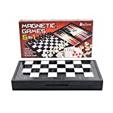 5 in 1 Magnetic Travel Chess Set + Checkers, Dominoes, Backgammon, Playing Cards