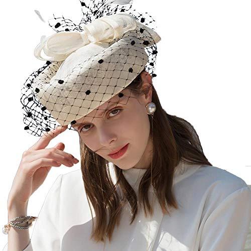 FADVES Fascinator Sinamay Pillbox Hats Kentucky Derby Tea Party Wedding Hat with Veil (Beige White/Black)