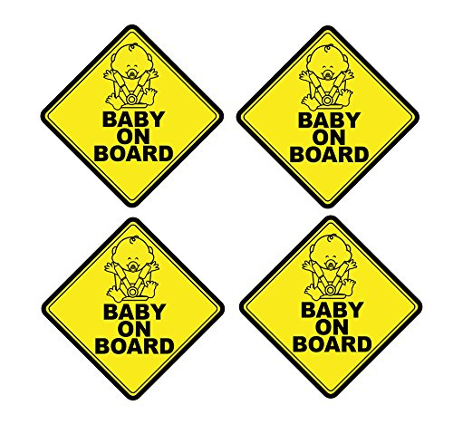Mandala Crafts Baby On Board Front Adhesive Vinyl Decal Safety Yellow Signs Pack of 4 from Mandala Crafts