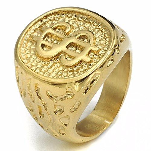 Elfasio Mens Stainless Steel Ring Band 18K Gold Plated $ Money Cash Sign Fashion Jewelry Size (Money Sign Ring)
