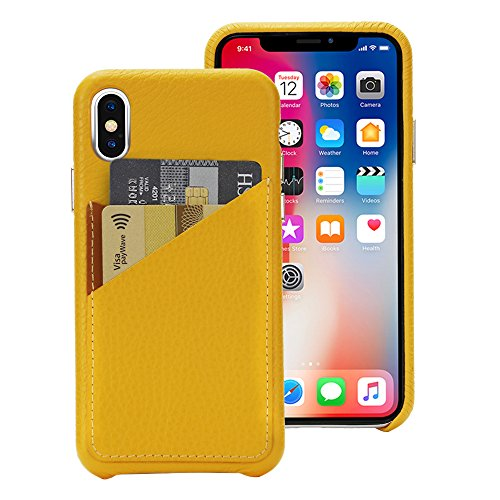 Cassenger Slim Fit Genuine Italian Leather Hard Back Case Protective Cover Snap On Case with 2 Card Holder Slots for iPhone Xs-Yellow