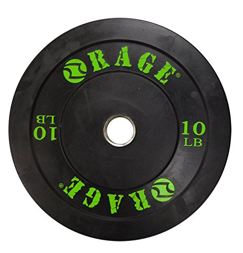 Rage Fitness PRO Olympic Bumper Plate (SOLD INDIVIDUALLY- - 10lb, 15lb, 25lb, 35lb, 45lb), Steel insert, Crossfit, strength training, Bench Press, Squats, Powerlifting