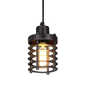 LNC A02534 Pendant Lighting Rust Industrial Barn Warehouse Mini Cage Ceiling Lamp For Kitchen Island Brown