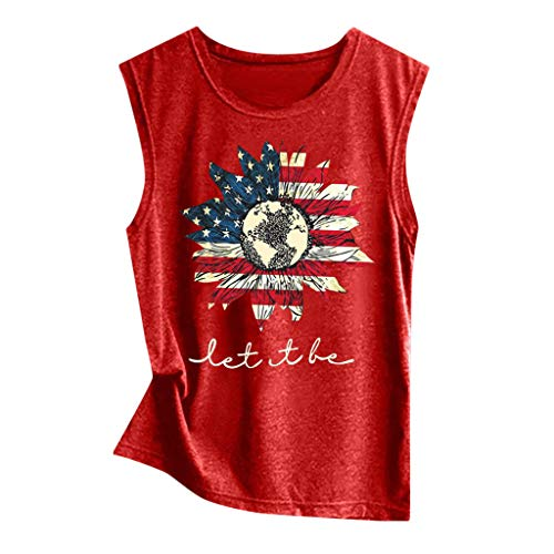 VEZAD Women's Sleeveless American Flag Print Tank Sport Pullover Tunic Top Blouse (Usa Versace)