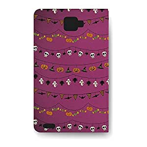 Leather Folio Phone Case For Samsung Galaxy Note 2 Leather Folio - Halloween Decorations Wallet Designer