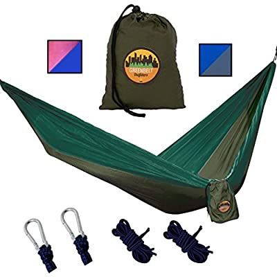 Greenbelt Camping Hammock | Lifetime No Tear Promise | Portable Super-Lightweight Parachute Nylon w/Carabiners | Outdoor & Indoor Hammocks | Best for Backpacking, Beach, Travel, Hiking, Campus