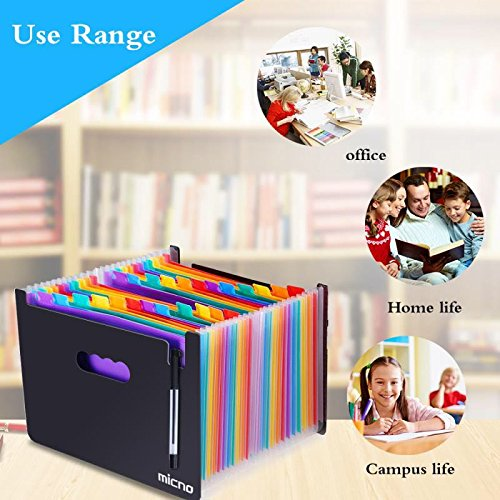 Expanding File Folder/24 Pockets A4 Accordion File Organizer/ Multicolor Portable Expanding Wallets/ High Capacity Plastic Stand Bag With Colored Tab For Business/Office/Study by MICNO (Image #2)