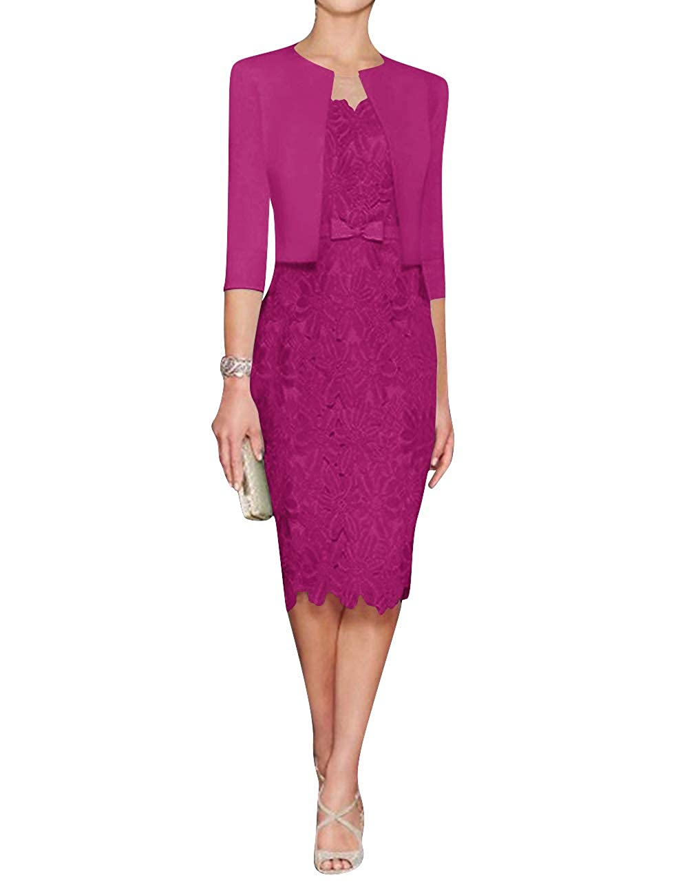 Fuchsia H.S.D Mother of The Bride Dress Sheath Mother Dress Lace Formal Dresses Satin Jacket