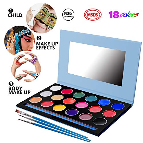 Flourance Face Paint,Face Painting Kit for Kid 18 Colors with 3 Brushes and Make-up Mirror,Face Body Paint Oil -