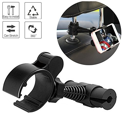 Baby Bracket - ZoneFly Car Headrest Mount for Baby - Kids Car Backseat Mount Stand Snap-on Holder with 360 Degrees Rotation Car Mount for iPhone X 8 8 Plus 7 7Plus, Samsung Note 8 S8, S7 by