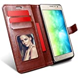 HOM Wallet Book Design Phone Case Flip Cover with Card Holders [Photo/Credit Card] Magnetic Closure, Stand View Case for Samsung Galaxy On5 / On5 Pro - Brown