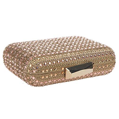 Clutch Crystal Gold for Bonjanvye Party Wedding Women Rhinestone Clutches Evening Bag Bling x6qH4HwPT