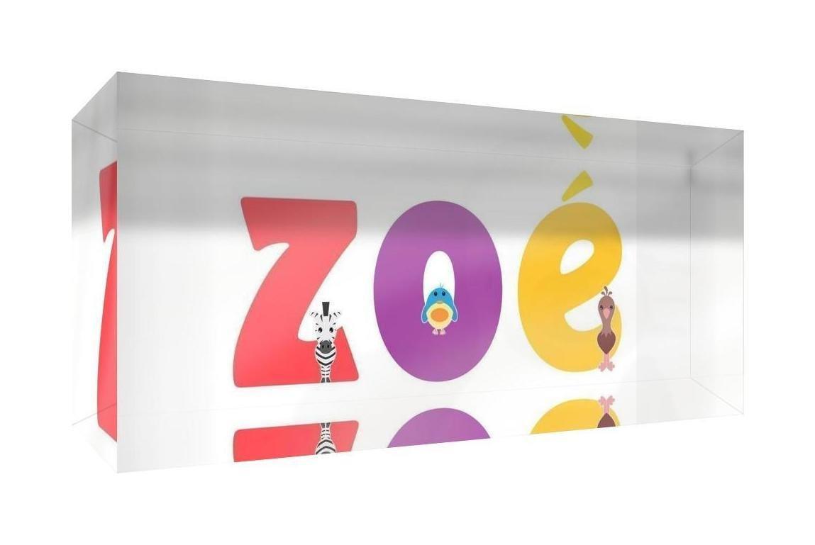 Little Helper Souvenir D/écoratif en Acrylique Transparent Poli comme Diamant Style Illustratif Color/é avec le Nom de Jeune Fille Zo/é 5 x 15 x 2 cm Petit
