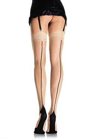 7d09c23d63dde Cuban Heel Back Seam Thigh High Stockings in Nude/Black, One Size (8 to  14): Amazon.co.uk: Clothing