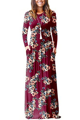 Oversized Floral Caftan Dress XXL ESONLAR Women Plus Size Long Sleeve Streetwear Party Cocktail Floor Maxi Dress Wine