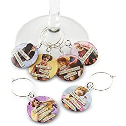 Funny Vintage Women Wine Glass Charms - Set of 6 Wine Tags. Always know which glass is yours with these wine markers!
